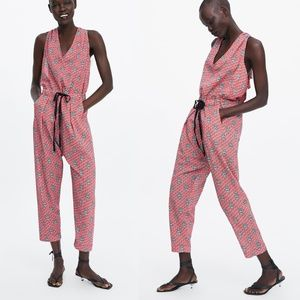 NWT zara printed jumpsuit with drawstring size M